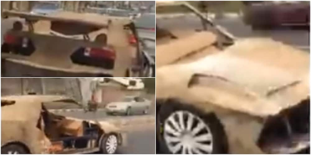 Nigerian man constructs sport car with condemned iron and carton, cruise around town with it