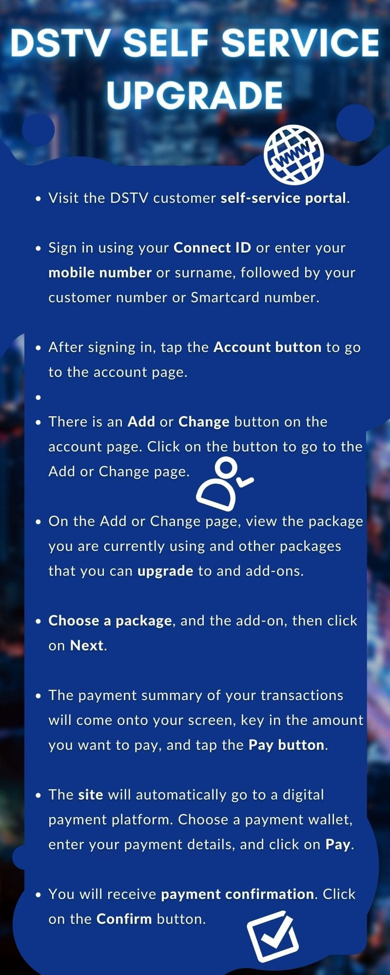 How to change DStv package