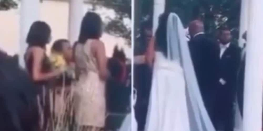 Video: Groom's baby mama storms wedding ceremony with his son as pastor blesses marriage