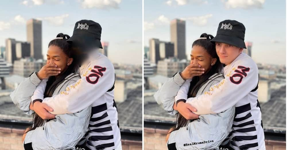 A Twitter user has shared a photoshopped image of media personality Lasizwe Dambuza and his new bae. Image: Twitter