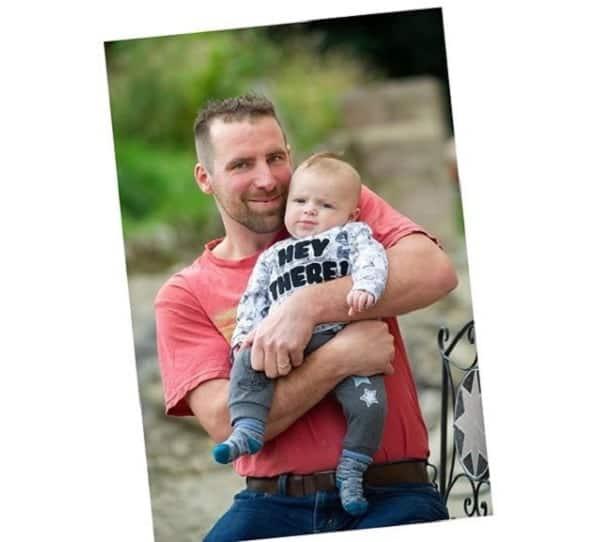 Dan Sheldon and his baby, Lucifer
