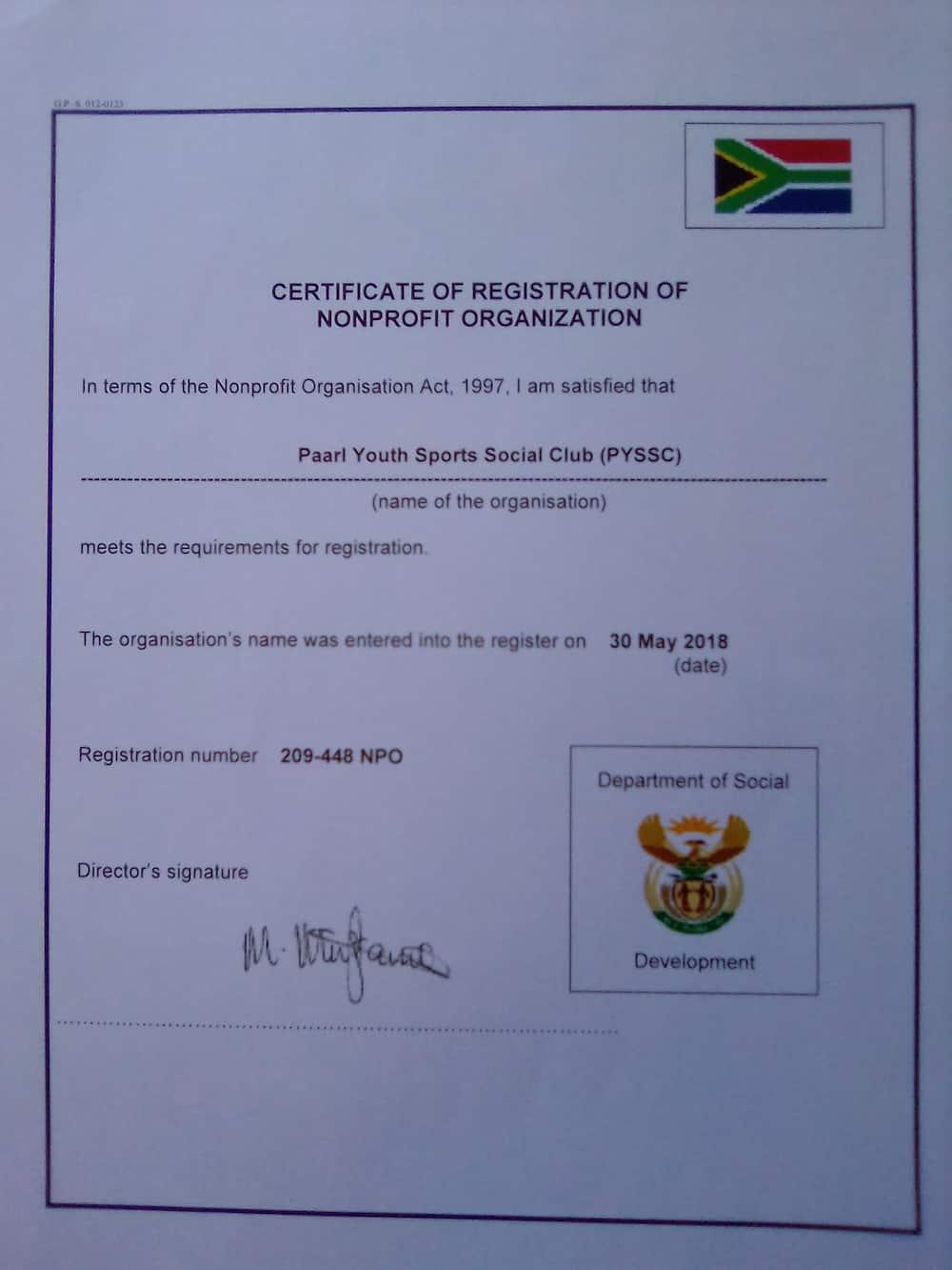 NPO registration certificate