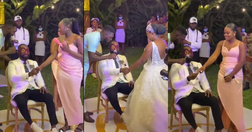 Drama as groom is blindfolded & asked to find his bride among many ladies