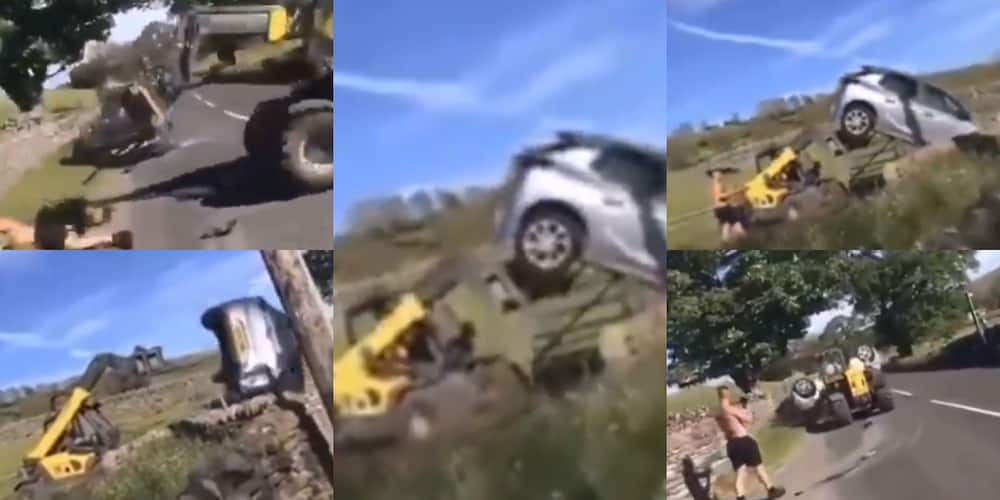 Angry Farmer Lifts & Drops Car With Tractor After Man Blocks His Gate