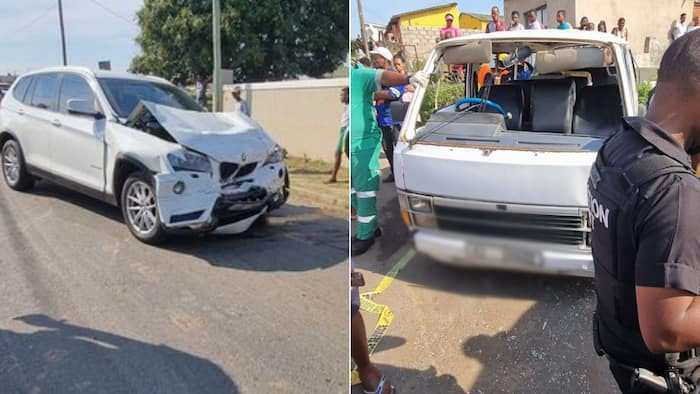 Teen, 14, crashes dad's BMW into a taxi, more than 20 school kids injured
