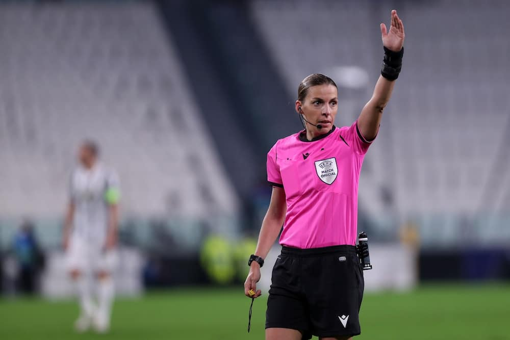 Stephanie Frappart in action in the Champions League