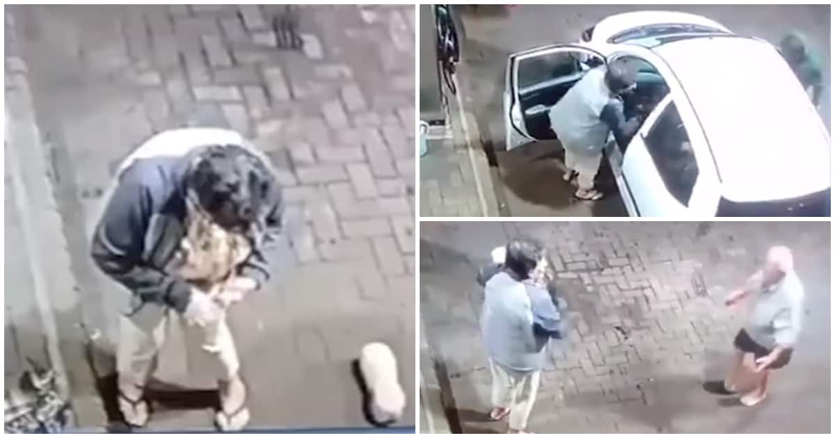 Heartbreaking video shows elderly couple hijacked at gunpoint at petrol station