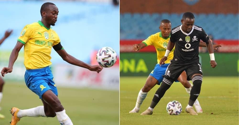 Striker Peter Shalulile scored the opening goal for Mamelodi Sundowns as they beat Orlando Pirates. Image: Twitter