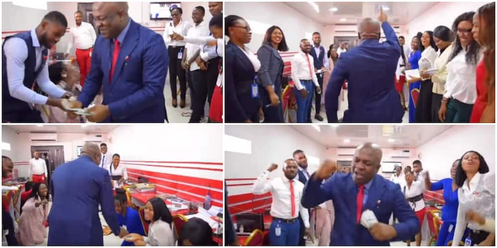 Reactions as Nigerian billionaire visits company, gifts each of his workers hard currencies, video goes viral