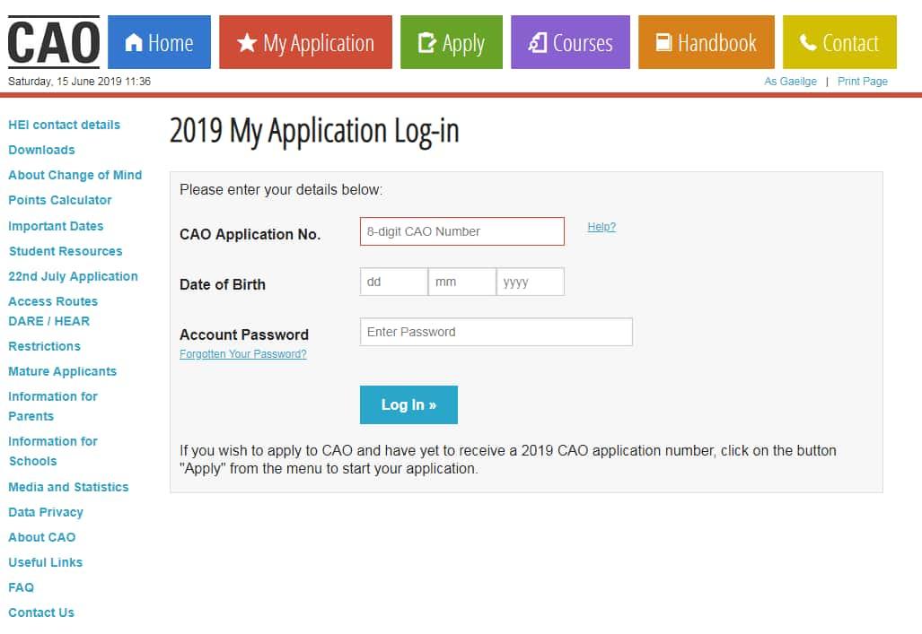 download cao application form 2019
