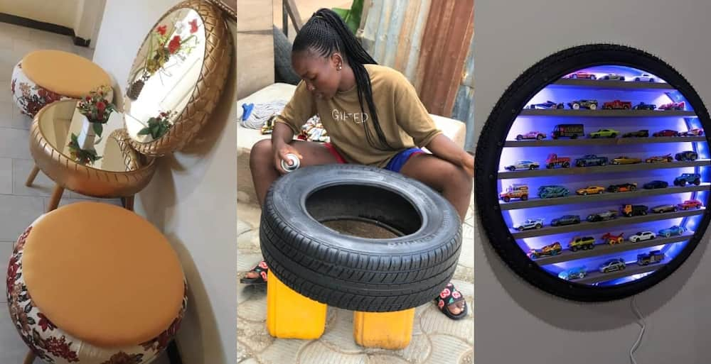 Meet the Talented lady Turning old Tyres into Unique wall Hangings & Furniture
