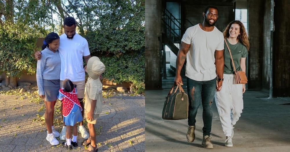 """""""I Miss School Drops"""": Siya Kolisi Shares Adorable Pic with His Kids"""