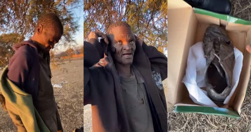 Halala: BI Phakhati Blesses Hungry Homeless Man with Shoes, Clothes and R1 500