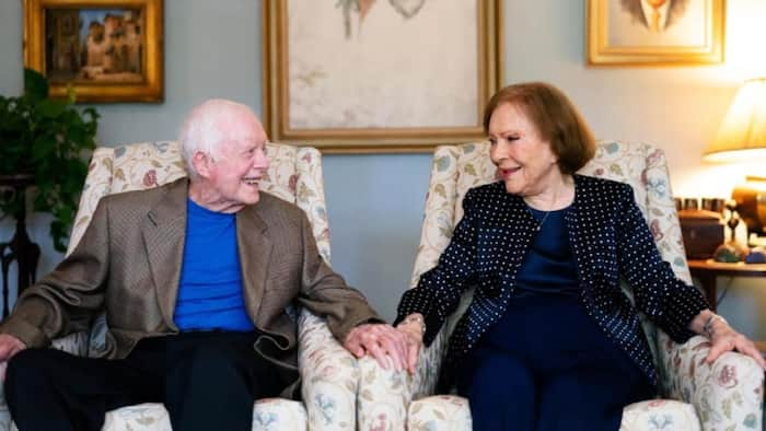 Former US president Jimmy Carter and wife, Rosalynn, celebrate 75 years of marriage
