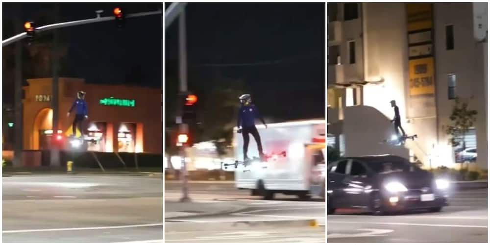 Man Transports Self on Busy Road Using Flying Hoverboard, Video Goes Viral as Nigerians React