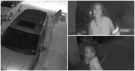 Video shows woman ditching a toddler at someone's door before running away