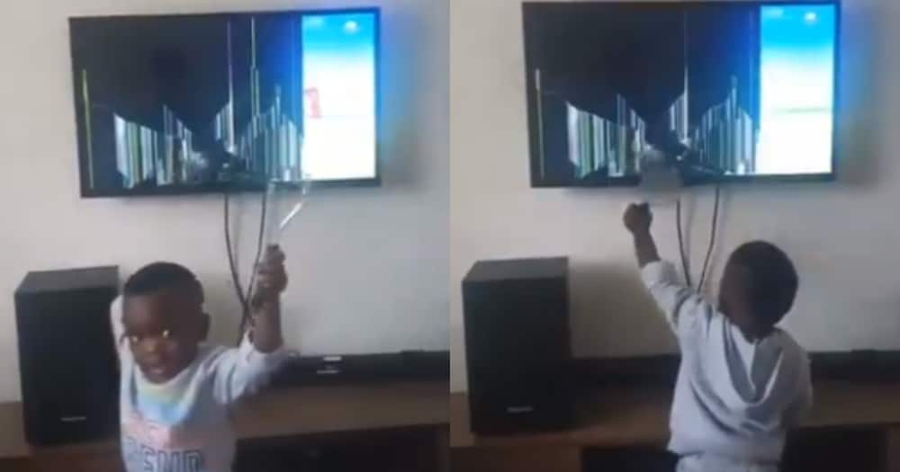 Ku Rough: Toddler Destroys TV With Vegetable Masher, SA Can't Deal