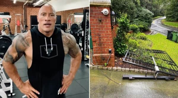 Actor Dwayne Johnson rips his faulty gate in order to get to work