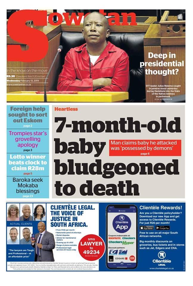 SA newspaper headlines today: 13 February, 2019