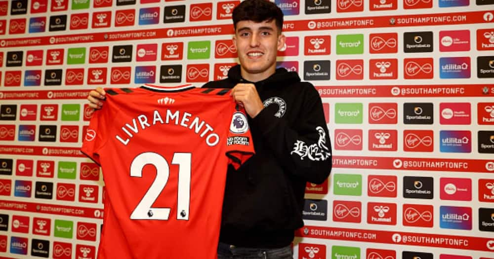 Tino Livramento poses for a photograph after signing a long-term contract at Southampton FC from Chelsea at the Staplewood Campus on August 02, 2021. Photo by Matt Watson/Southampton FC via Getty Images.