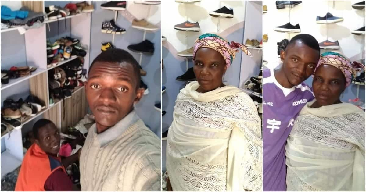 Man praises mother as he shares photos of his new shoe shop