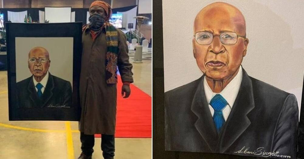 Rasta honours the late Andrew Mlangeni with portrait, Mzansi reacts