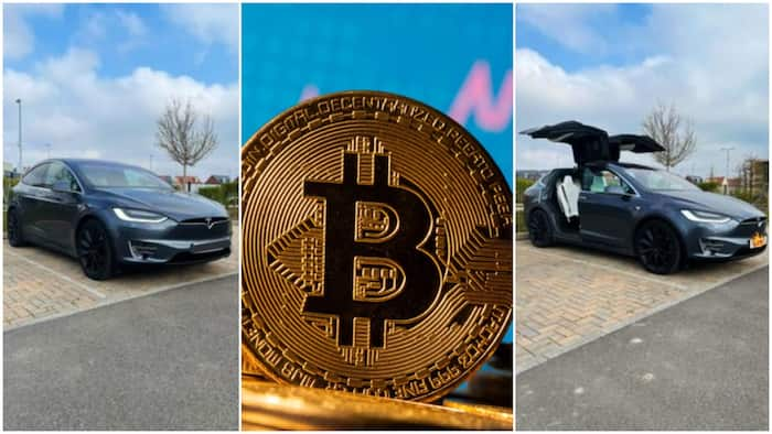 Young man buys Tesla electric car, raised cash by trading Bitcoin