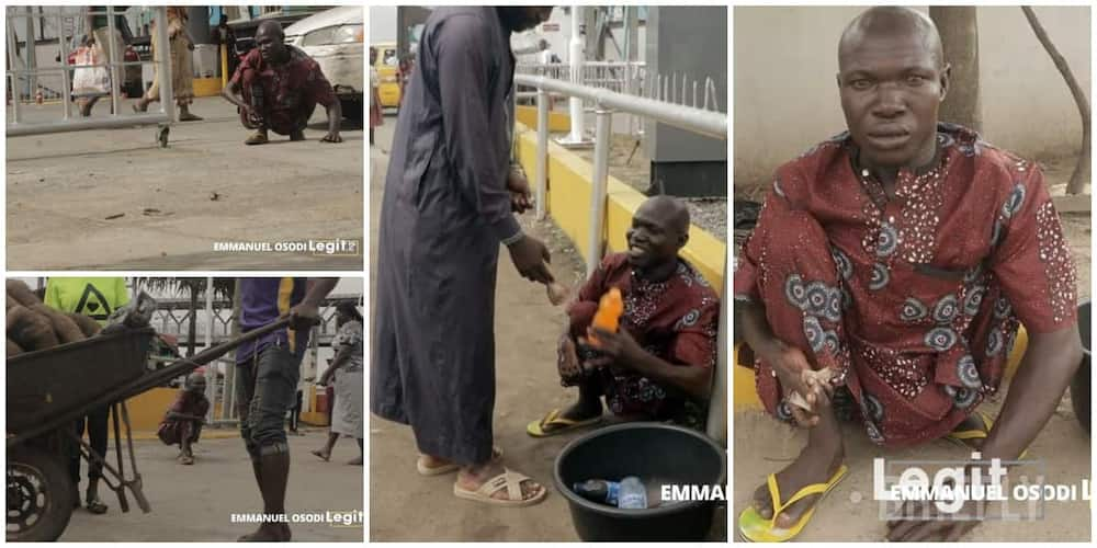 Nigerians react to viral photos of physically challenged man who hustles on busy Lagos roads to cater for family in Oyo