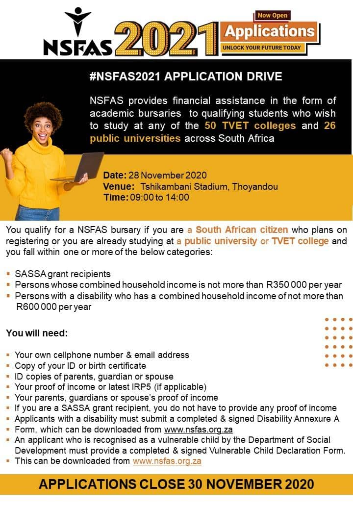 NSFAS requirements for 2021