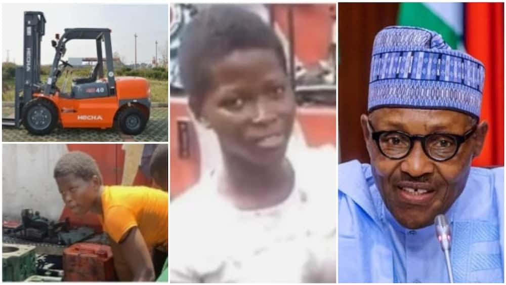 A collage showing the girl, a random picture of a forklift, and President Muhammadu Buhari. Photos sources: Twitter/@thepreciousAda/DailyPost/PkTrucks