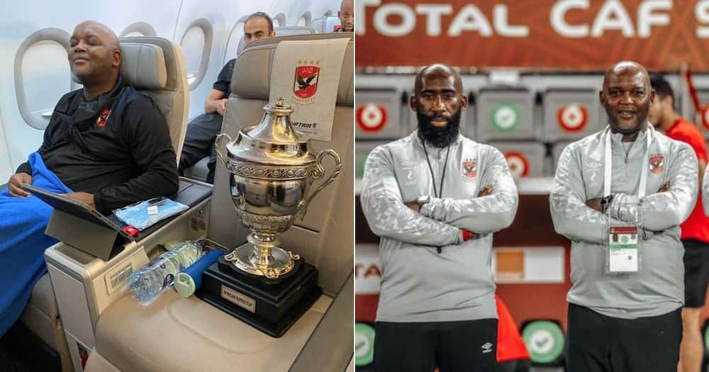 Al Ahly coach Pitso Mosimane is seemingly enjoying himself in Egypt and has shared a picture on social media. Image: @TheRealPitsoMosimane/AlAhlyEnglish/Twitter