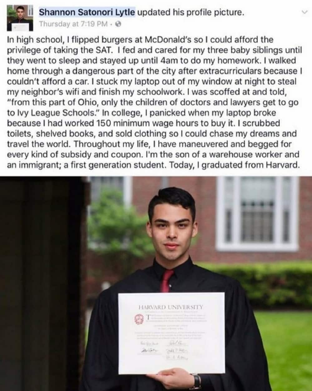 Man went from making burgers at McDonald's to graduating from Harvard