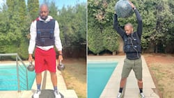 Recovery: Itumeleng Khune flexes his fully toned and fit new body
