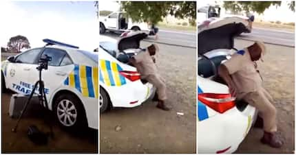 Traffic cop filmed napping while speed trapping in Free State