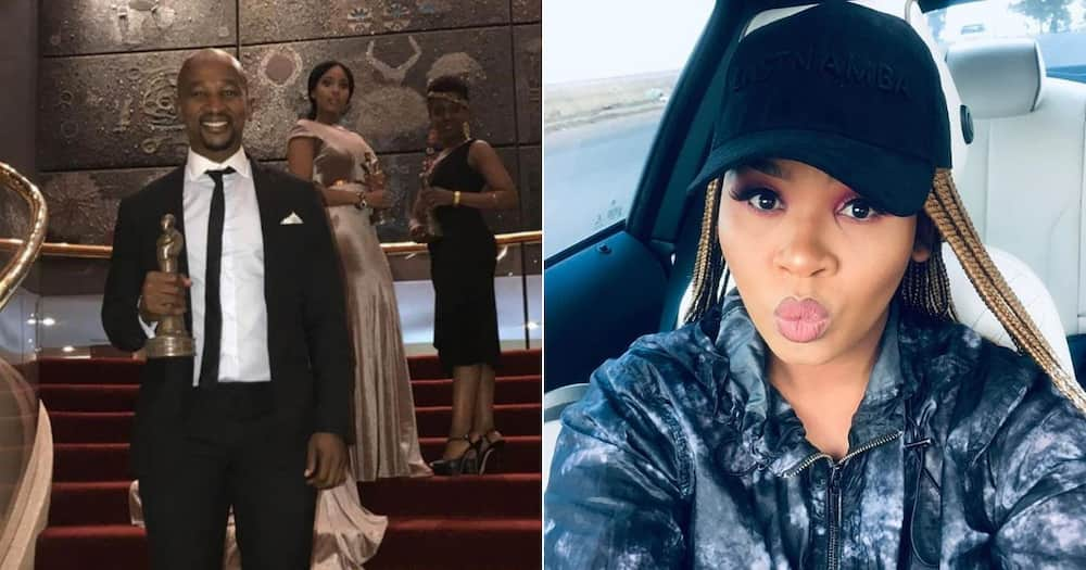 Actor Andile Mxakaza's video is going viral on social media as he is proposing marriage to his lovely woman. image: AndileMX/Instagram