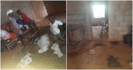 Photos show woman living in an abandoned building with her kids