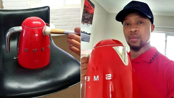 """""""Kettle abuse"""": Mzansi can't deal with Mr Smeg putting make up on his kettle"""