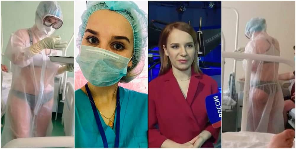 Russian nurse who wore only lingerie under a see-through protective gown on coronavirus ward becomes a TV weather presenter