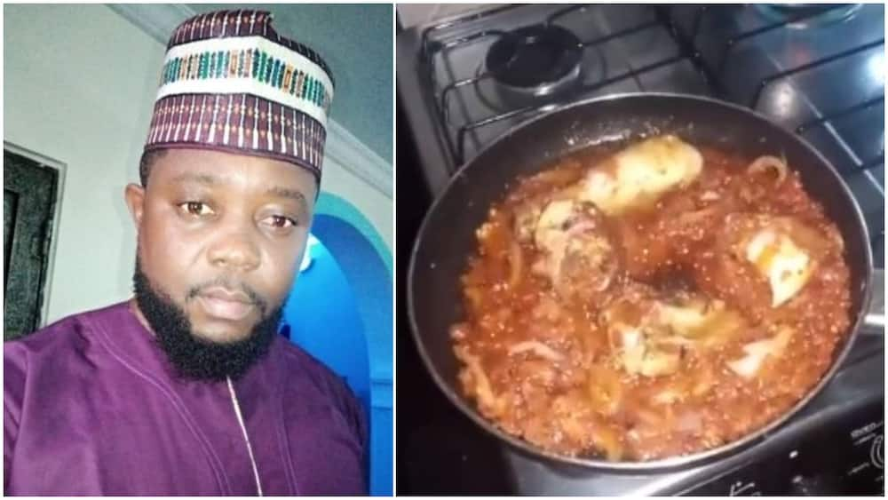 Man showcases his cooking skill, says he's a bachelor with a talent for cooking