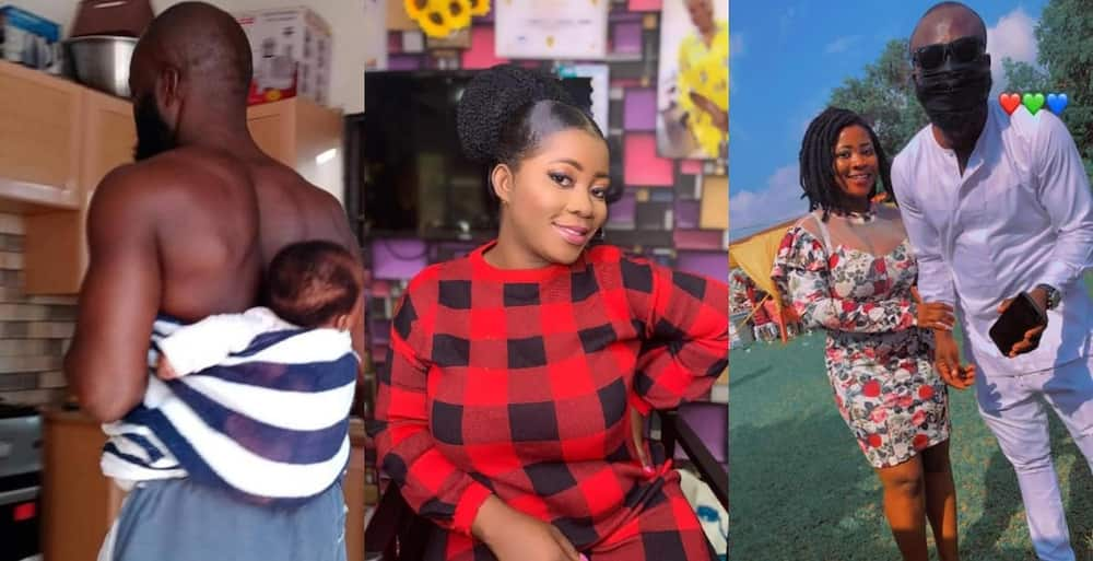 Maame Achaa: Ghanaian lady who delivered through CS & lost her memory hails hubby for staying by her side