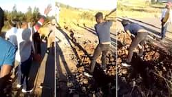 Viral video shows KZN man destroying road, Mzansi triggered