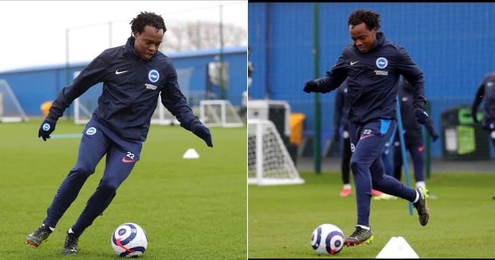 South African fans were delighted to see Percy Tau in action for Brighton & Hove Albion. Image: @PercyMuziTau22/Twitter