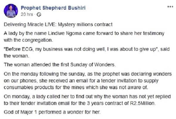 Bushiri helps struggling businesswoman land R2.5 million contract