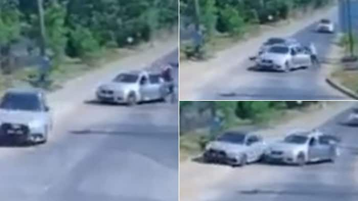 Video shows Audi driver narrowly evading hijackers by showing zero hesitation and speeding off
