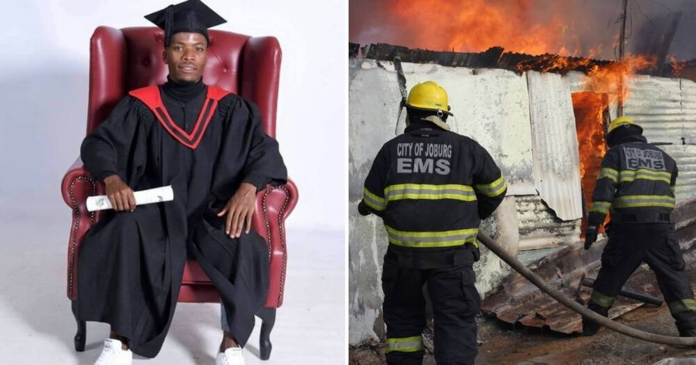 South Africans are feeling inspired by a man who has just qualified as a firefighter. Image: @VarsityWorld/@CityofJoburgEMS/Facebook/Twitter