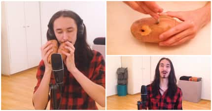 Video shows guy playing Toto's Africa, with a sweet potato and squash