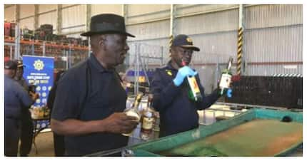 Bheki Cele and the SAPS destroys 10 000 litres of alcohol confiscated in raids