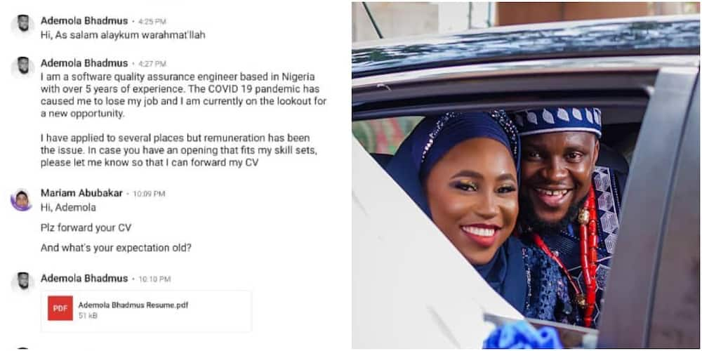 Nigerian man who Met His Wife on LinkedIn Shares Screenshots of 1st Conversation Between them, Many React