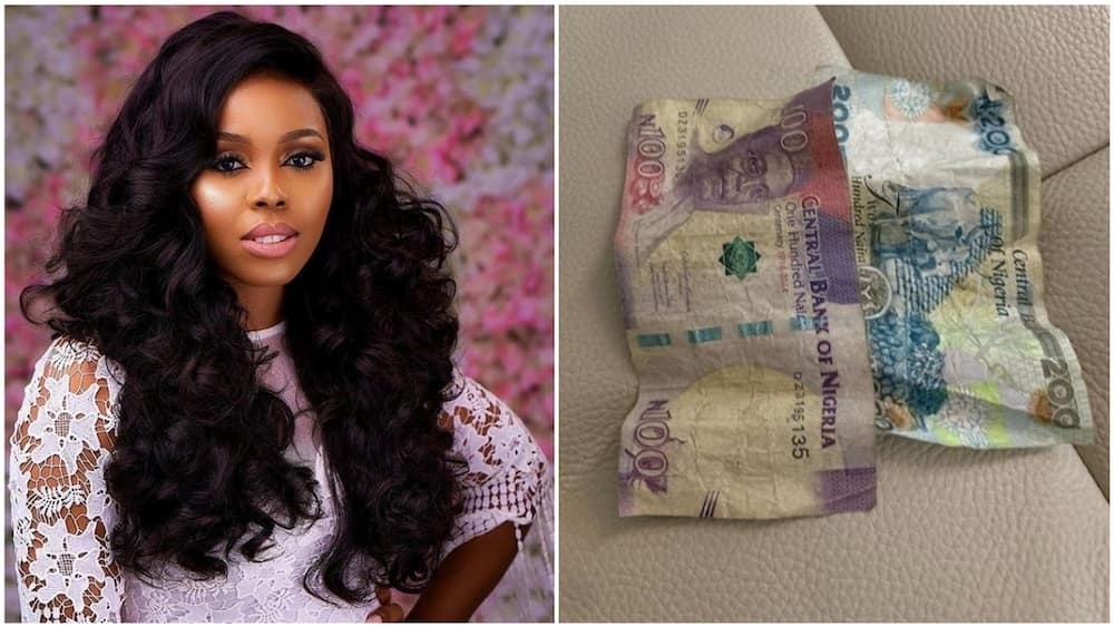 A collage of the mother and the money her son gave her. Photos sources: Instagram/Nwanneka Nkumah