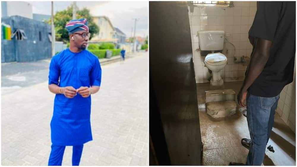 Nigerian shares house in Surulere with toilet that has staircases, laments, says he'll move to Island